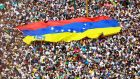 Opposition supporters take part in a rally against Venezuelan president Nicolas Maduro's government in Caracas, Venezuela on Saturday. Photograph: Adriana Loureiro/Reuters