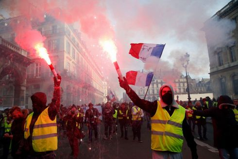 GILETS JAUNES: Protesters wearing yellow vests take part to a demonstration called by the CGT (General Working Confederation) union in Paris. Photograph: Michel Euler/AP