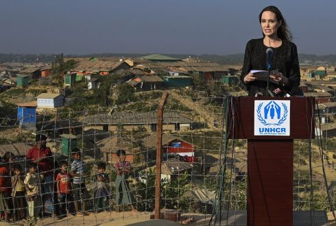 ROHINGYA: Actor Angelina Jolie, a special envoy for the United Nations High Commissioner for Refugees, addresses a press conference as young Rohingya refugees watch, after her visit to the Kutupalong camp in Ukhia in southern Bangladesh. Photograph: Munir Uz Zaman/AFP/Getty Images