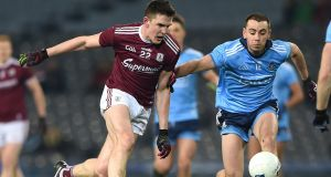 Cormac Costello in action against Galway's Cein D'Arcy. The Dublin forward took the opportunity to showcase his undoubted talent during the league clash at Croke Park. Photograph: Tommy Grealy/Inpho