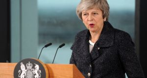 Theresa May  indicated she wasn't so much rejecting the backstop, or performing a U-turn, but rather she needed a modified backstop. Photograph: Aidan Crawley/EPA