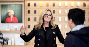 Angela Ahrendts: will leave Apple in April. Photograph: REUTERS/Noah Berger/File Photo