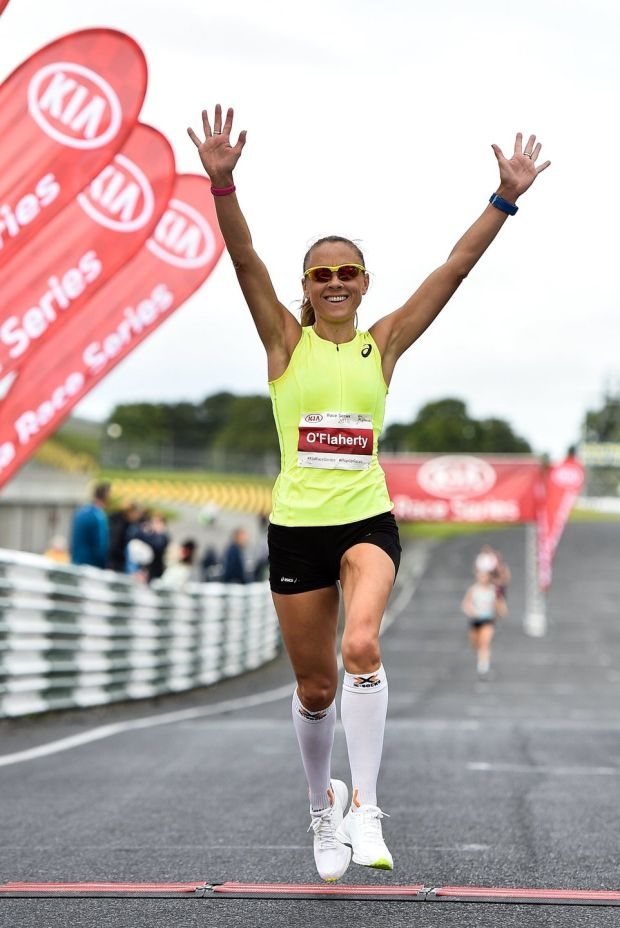 Kerry O'Flaherty crosses the line to win the women's event at the Kia Race Series Finale – Mondello International 10k at Mondello Park in Naas, Co Kildare in September 2018. Photograph: Sam Barnes/Sportsfile
