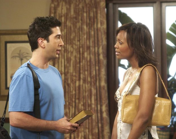 Friends: David Schwimmer with Aisha Tyler as Dr Charlie Wheeler, Joey and then Ross's girlfriend. Photograph: NBC via Getty