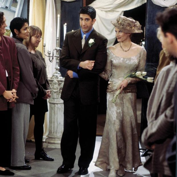 "Friends: David Schwimmer with Jane Sibbett as Carol Willick, Ross's ex-wife and mother of his son, Ben, in ""The One with the Lesbian Wedding"". Photograph: Paul Drinkwater/NBC via Getty"
