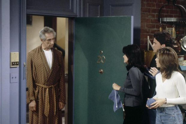 Friends: Larry Hankin as Mr Heckles, Monica and Rachel's irritable downstairs neighbour, with Courteney Cox, Matthew Perry and Jennifer Aniston. Photograph: Paul Drinkwater/NBC via Getty