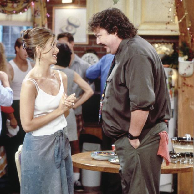 Friends: Jennifer Aniston with Michael Hagerty as Mr Treeger, the building superintendent. Photograph: Alice S Hall/NBC via Getty