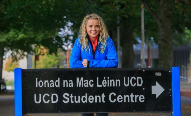 Rebecca Carter at the UCD Students Union to marking her first day of college following her High Court appeal case to get a marking mistake fixed in time for her to go to university to study veterinary medicine Photograph: Gareth Chaney/Collins