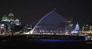 Cross over the Samuel Beckett bridge and move closer to Grand Canal Dock and you'll pay a premium of more than 12 per cent for a two-bed property, compared with the opposite side of the river. Photograph: Dave Meehan