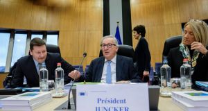 EU Commission president Jean-Claude Juncker at a meeting in Brussels on Wednesday. Photograph: Olivier Hoslet/EPA