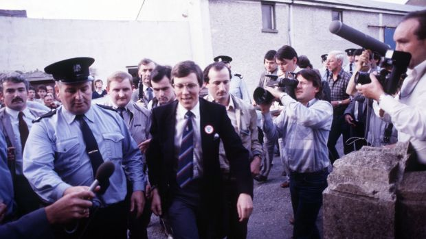 "DUP deputy leader Peter Robinson at Ballybay courthouse in August 1986, following his ""invasion"" of Clontibret. Photograph: Pacemaker"