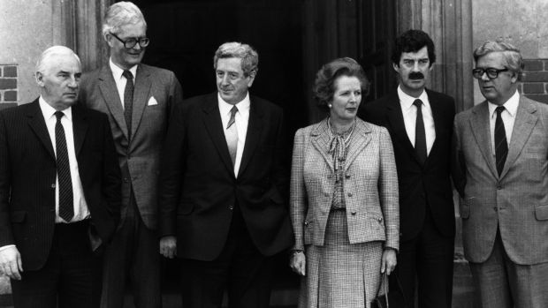 Garret FitzGerald and Margaret Thatcher with ministers Peter Barry, Douglas Hurd, Dick Spring and Geoffrey Howe at an Anglo-Irish summit at Chequers, England. Photograph: Keystone/Getty Images