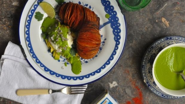 Hasselback potatoes with kale and coriander pesto by Lilly Higgins