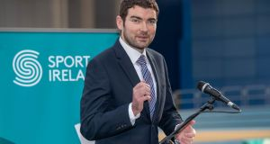 Minister of State for  Sport Brendan Griffin speaking at the Sport Ireland announcement on funding for 2019. Photograph:   Morgan Treacy/Inpho