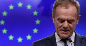 "European Council president Donald Tusk in Brussels on Wednesday. He angered UK Brexiteers when he said he had been ""wondering what that place in hell looks like for those who promoted Brexit without even a sketch of a plan for how to carry it out safely"". Photograph:  Yves Herman/Reuters"