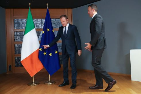FÁILTE LINES: Taoiseach Leo Varadkar is welcomed by European Council president Donald Tusk before their talks at the Europa building in Brussels, Belgium. Photograph: AP Photo/Francisco Seco