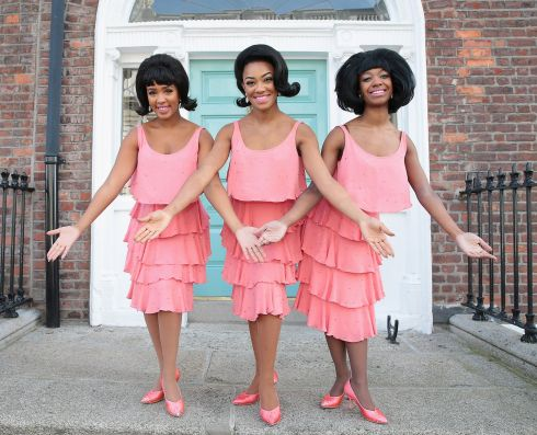 STOOP IN THE NAME OF LOVE: 'Motown: The Musical' cast members are seen in Merrion Street ahead of the opening of the musical at Dublin's Bord Gáis Energy Theatre. Photograph: Brian McEvoy