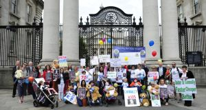 File photograph: Members of Connolly for Kids picutred outside government buildings calling for the new National Childrens Hospital to be located on Connolly Hospital in Blanchardstown, Co Dublin on June 22nd, 2016. Photograph: Aidan Crawley
