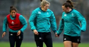 Alison Miller (centre) during Ireland's Captain's Run ahead of the England game. Photograph: Ryan Byrne/Inpho