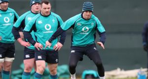 Peter O'Mahony, Tadhg Furlong, Cian Healy and Jonathan Sexton at Ireland rugby squad training in Carton House, Co Kildare on Tuesday.  Photograph: Billy Stickland/Inpho