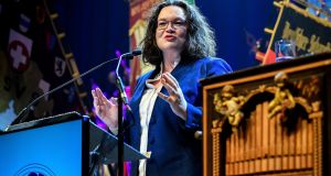 Struggling in polls, and facing three state election disasters in 2019, SPD leader Andrea Nahles has promised measures to make welfare fairer for its traditional core electorate. Photo: Sascha Steinbach/EPA