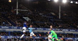 Manchester City's Gabriel Jesus heads home his side's second goal late in the premier league game against Everton  at Goodison Park. Photograph: Peter Byrne/PA Wire