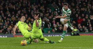 Ryan Christie  scores for Celtic during the Scottish  Premiership match against Hibernian at Celtic Park, Photograph: Ian MacNicol/Getty Images