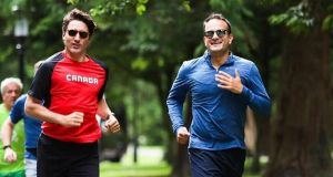 Political run: Leo Varadkar jogging with Canadian prime minister Justin Trudeau in Phoenix Park, in Dublin, in 2017. Photograph: Leo Varadkar/Twitter