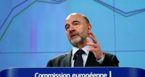 European Commissioner for Economic and Financial Affairs Pierre Moscovici presents the EU executive's economic forecasts during a news conference at the EU Commission headquarters in Brussels. Photograph: Francois Lenoir/Reuters