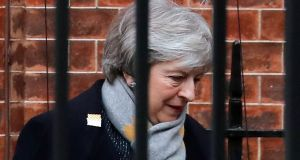 Backstopping down? British prime minister Theresa May leaves Downing Street en route to Belfast.  Photograph: Frank Augstein/AP