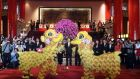 People perform a lion dance to bring good luck to tourists during Chinese Lunar New Year celebrations at the Grand Hotel in Taipei, Taiwan. Photograph: David Chang/EPA