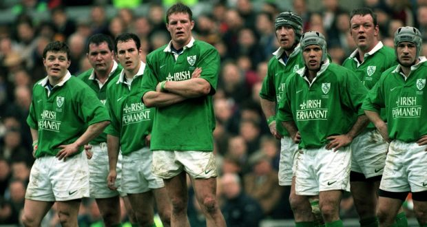 0991d72216c Ireland players look on during their opening round loss to England in 2000.  Photograph: