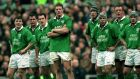 Ireland players look on during their opening round loss to England in 2000. Photograph: Billy Stickland/Inpho