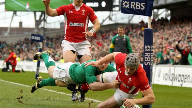 Jonathan Davies scores the opener for Wales in their victory over Ireland in 2012. Photograph: James Crombie/Inpho