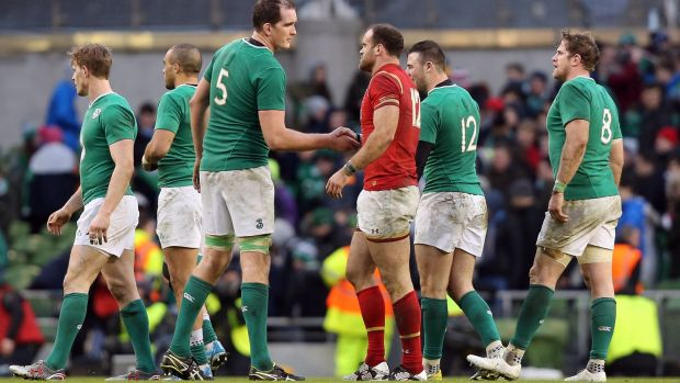 Devin Toner and Jamie Roberts shake hands after Ireland and Wales drew 16-16 in 2016. Photograph: Colm O'Neill/Inpho