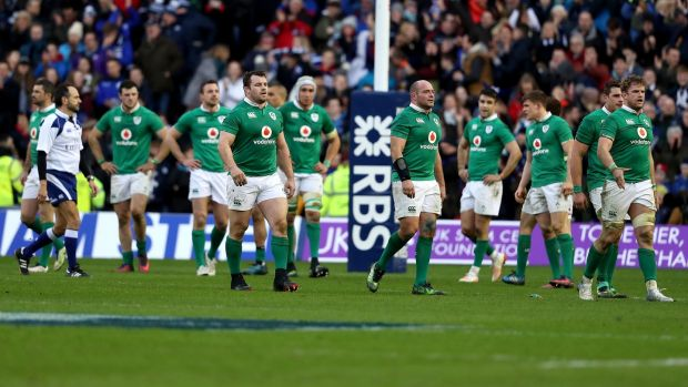 Ireland players dejected after their opening round defeat to Scotland in 2017. Photograph: Dan Sheridan/Inpho