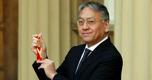 Kazuo Ishiguro after receiving a knighthood at  Buckingham Palace on Thursday. Photograph: Jonathan Brady/PA