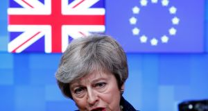 British prime minister Theresa May speaks to the press at the European Council headquarters in Brussels. Photograph: Francois Lenoir/Reuters