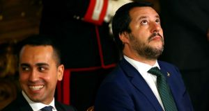 Italian interior minister Matteo Salvini  next to its minister of labour Luigi Di Maio at the Quirinal palace in Rome. File photograph: Tony Gentile/Reuters