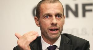 Uefa president Aleksander Ceferin was re-elected   Uefa president for another four years. Photograph:  Francois Walschaerts/Reuters
