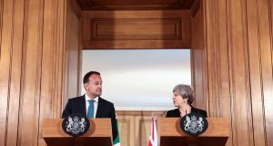 Leo Varadkar and Theresa May. The two leaders do not have an easy relationship, and all their previous meetings have come across as scratchy.  Photograph: Simon Dawson/Bloomberg