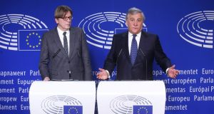 European Parliament president Antonio Tajani (right) and its head Brexit negotiator Guy Verhofstadt give a press briefing following a meeting with Theresa May in Brussels. Photograph: François Walschaerts/AFP/Getty Images