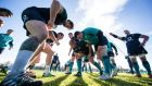 Andrew Porter, Sean Cronin, Tadhg Furlong, Rory Best, Cian Healy and Sean O'Brien during Ireland training ahead of the Six Nations meeting with Scotland at Murrayfield. Photo: Billy Stickland/Inpho