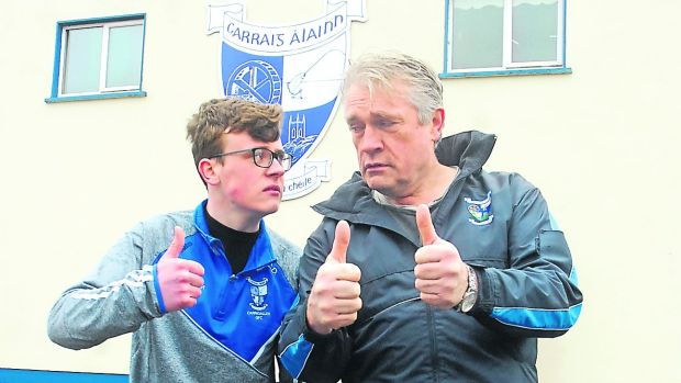 O'Rourke with David Rawle, Carrigallen actor who starred in Moone Boy with Chris O'Dowd, at the launch of Carrigallen Lights Up programme. Photo: Leitrim Observer