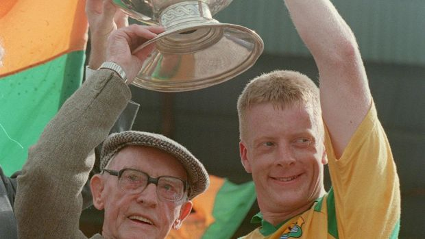 Declan Darcy lifts the Connacht SFC cup with Tom Gannon in 1994. Photo: Tom Honan/Inpho