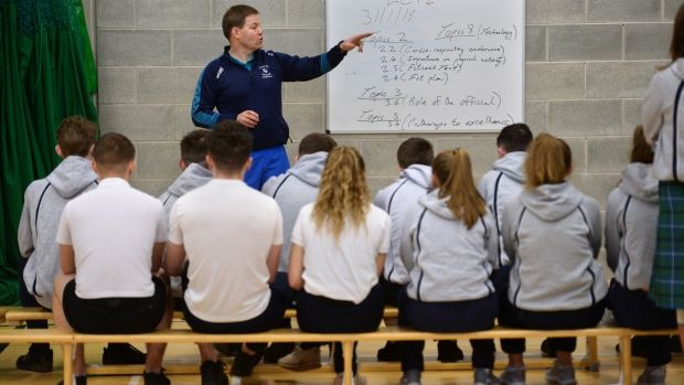 Fifth-year students taking part in the new Leaving Cert PE subject with Shane Davey at Castleknock Community College. Photograph: Dara Mac Dónaill