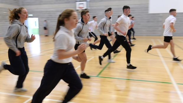 Fifth-year students at Castleknock Community College, Dublin. Photograph: Dara Mac Dónaill