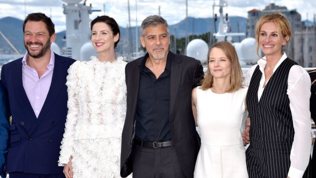Money Monster: Caitriona Balfe with Dominic West, George Clooney, director Jodie Foster and Julia Roberts in Cannes. Photograph: Clemens Bilan/Getty