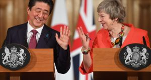 Japanese prime minister Shinzo Abe and prime minister Theresa May. Japanese negotiators have been instructed to get the best deal possible for Japan