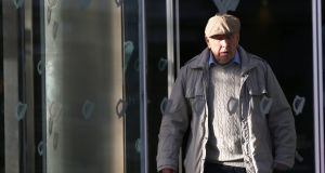 Michael Shine (86), of Ballsbridge, Dublin, leaving court after he was found guilty of 13  offences  committed during medical examinations. Photograph: Collins Courts